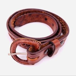 Belt Genuine Tooled Leather & Leather Wrap Buckle